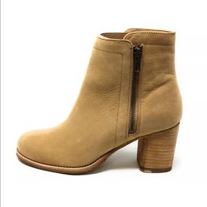 FRYE Addie Double Zip Leather Boots Sand Color NEW
